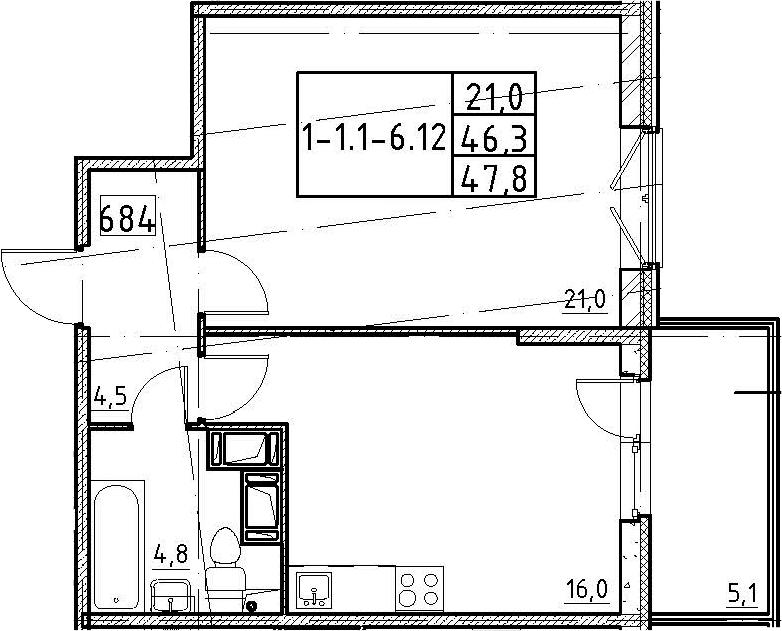 2Е-к.кв, 47.8 м², от 3 этажа