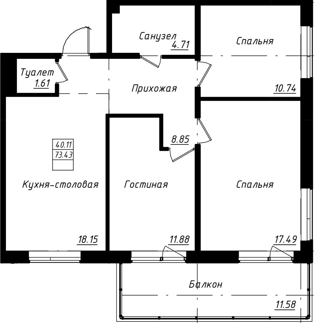 4-к.кв (евро), 85 м²