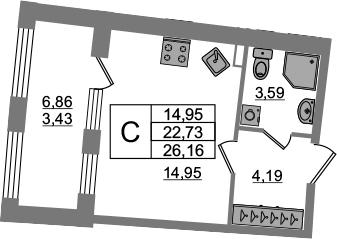 Студия, 22.73 м²