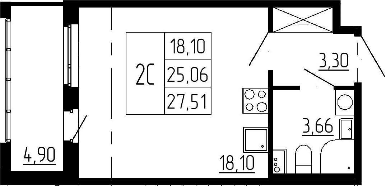 Студия, 29.96 м²