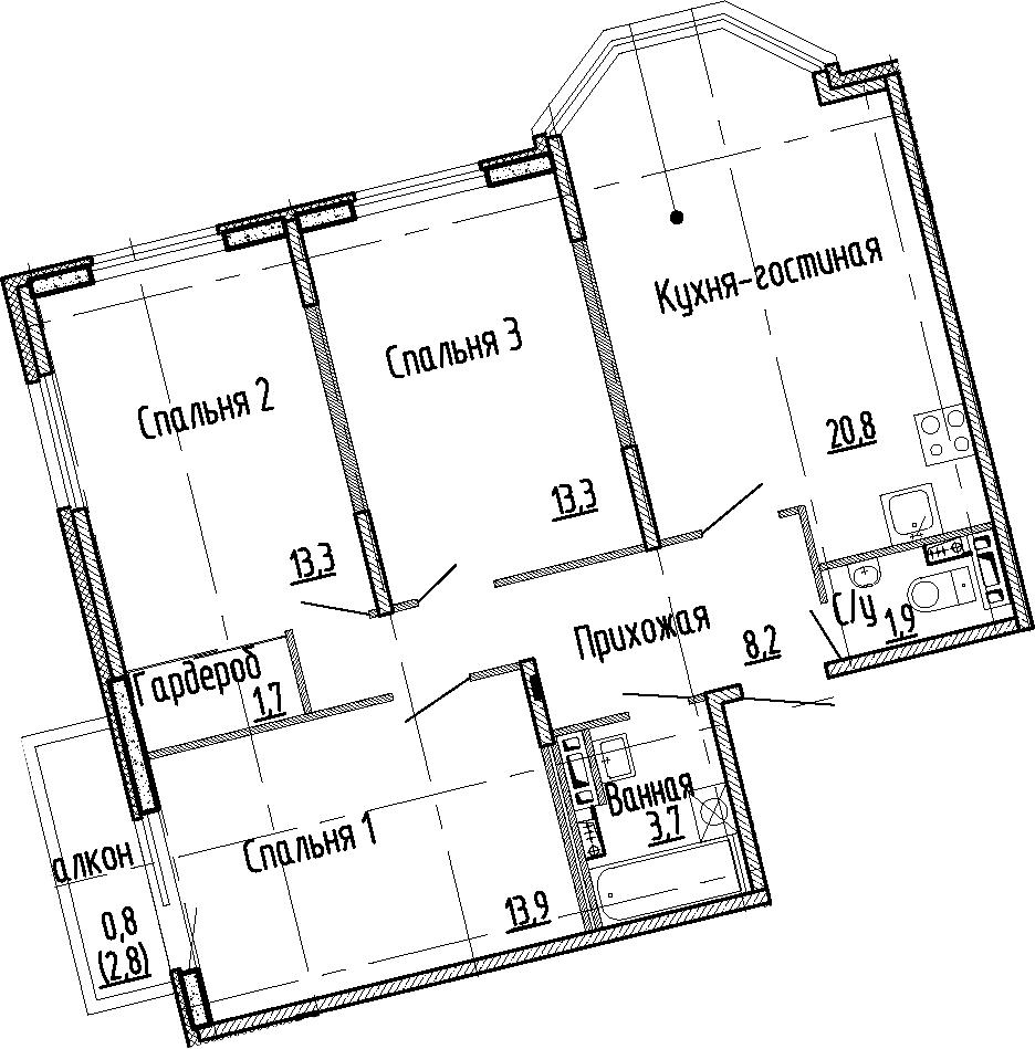 4Е-комнатная, 76.8 м²– 2