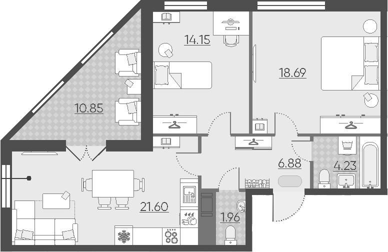 3Е-комнатная, 72.94 м²– 2