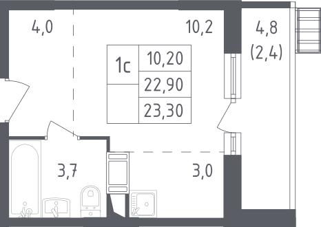 Студия, 23.3 м², 12 этаж