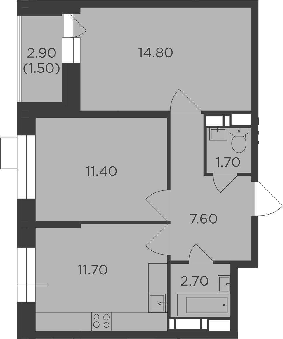 2-к.кв, 51.4 м²