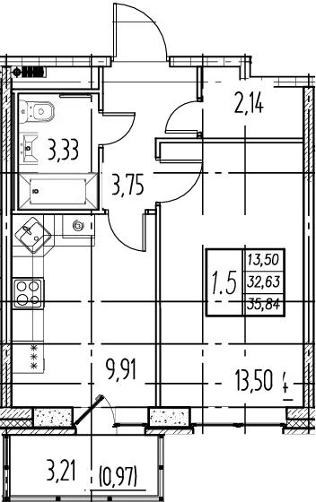1-комнатная, 32.63 м²– 2