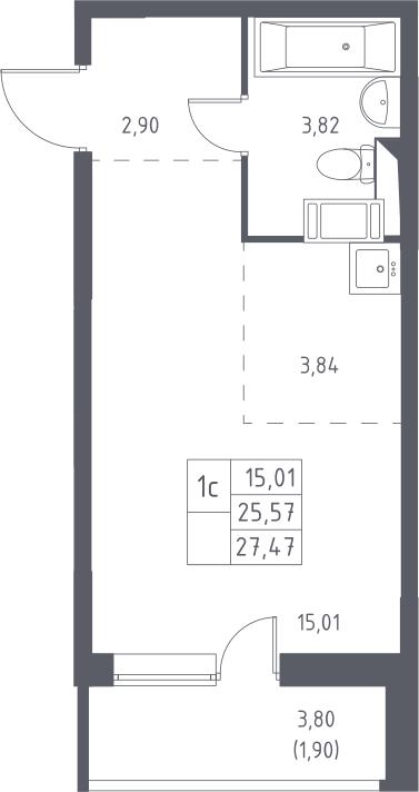 Студия, 27.47 м², 3 этаж