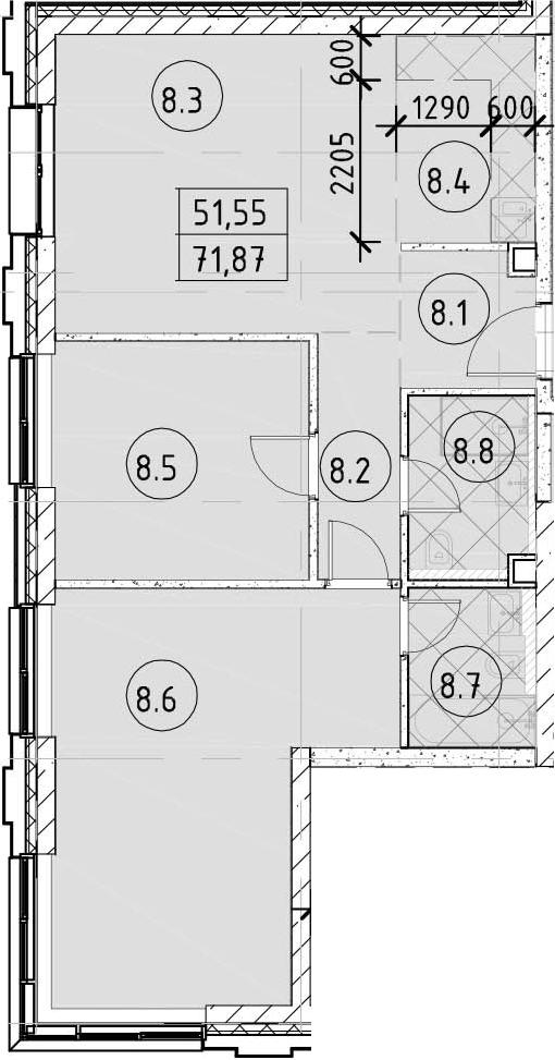 3Е-комнатная, 71.87 м²– 2