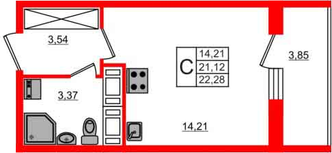 Студия, 24.97 м²