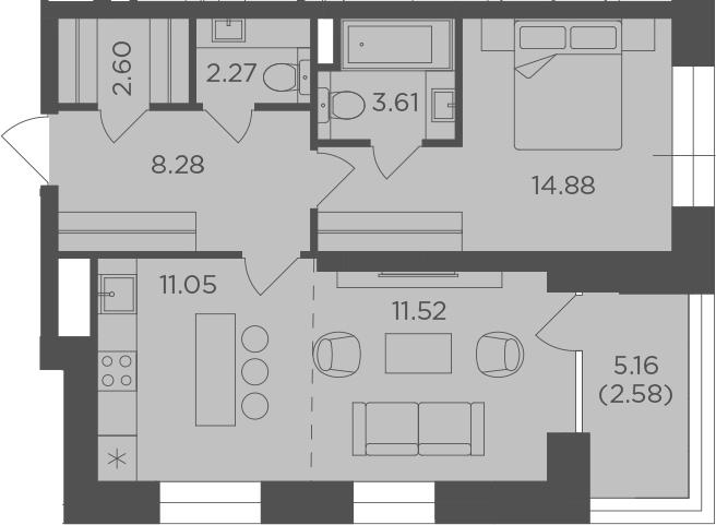 2Е-комнатная, 56.79 м²– 2