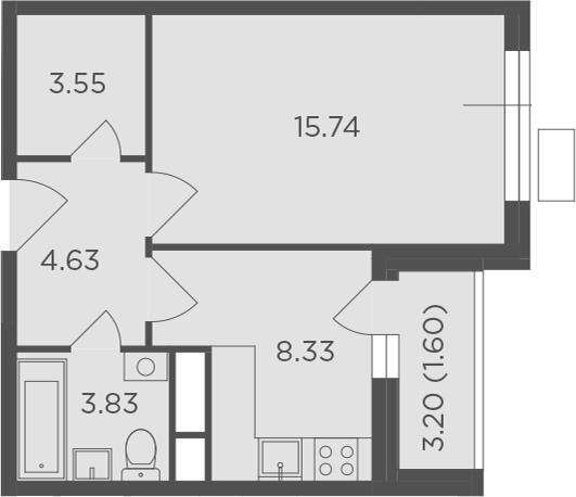 1-к.кв, 39.28 м²