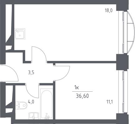 2Е-к.кв, 36.6 м², 4 этаж