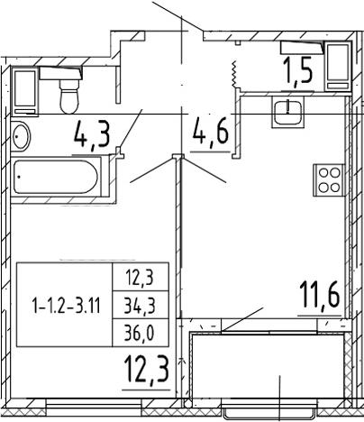 1-к.кв, 36 м², 9 этаж
