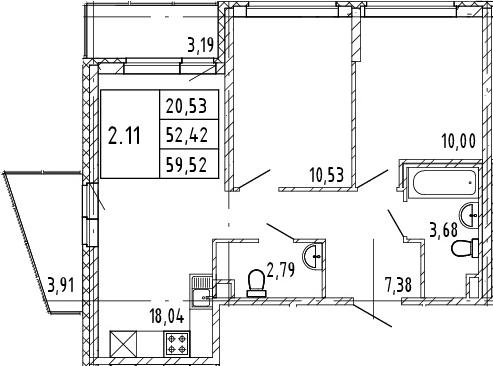 3Е-комнатная квартира, 52.42 м², 2 этаж – Планировка