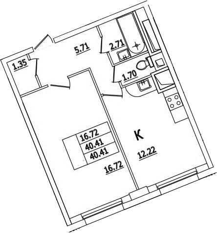 1-комнатная, 40.41 м²– 2