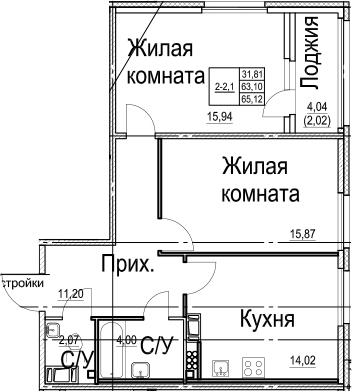 2-к.кв, 65.12 м², 7 этаж