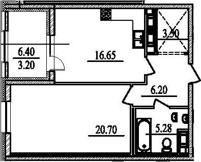 1-к.кв, 58.73 м²