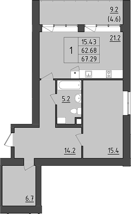 2Е-комнатная, 71.88 м²– 2