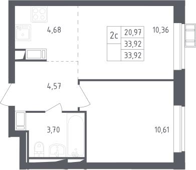 2Е-к.кв, 33.92 м², 13 этаж