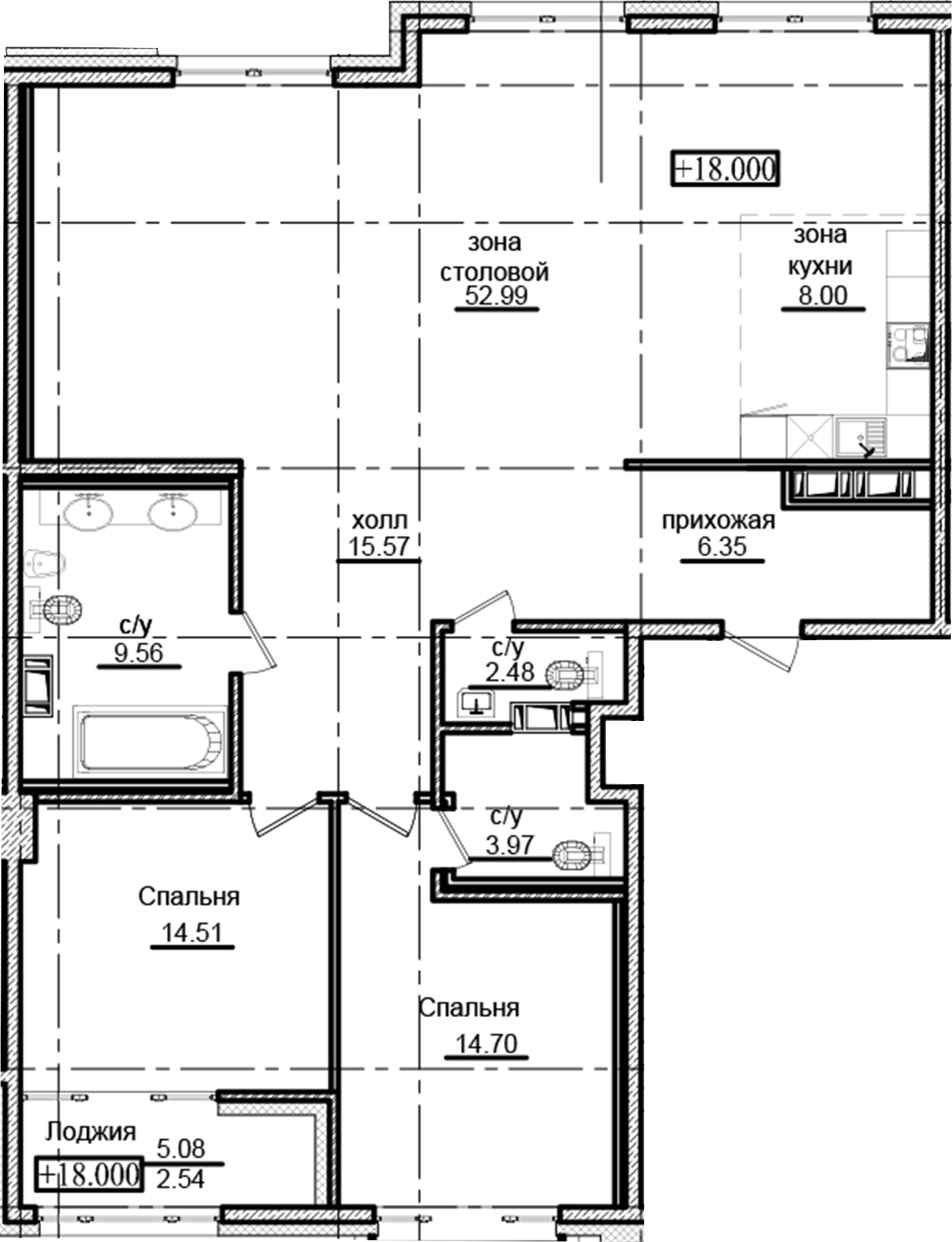 3Е-комнатная, 130.67 м²– 2