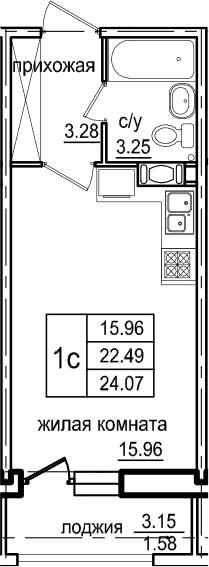 Студия, 24.07 м², 5 этаж