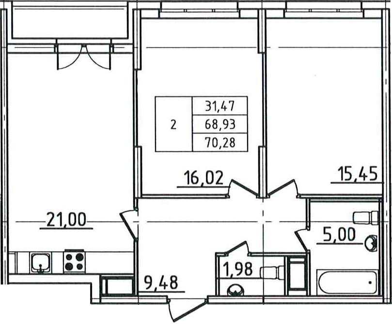 3Е-комнатная, 70.28 м²– 2