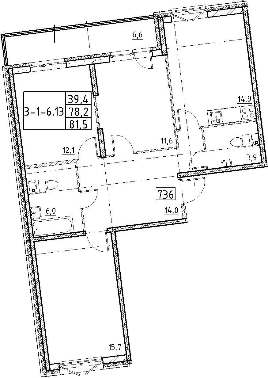 3-к.кв, 81.5 м²