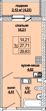 Студия, 32.2 м²