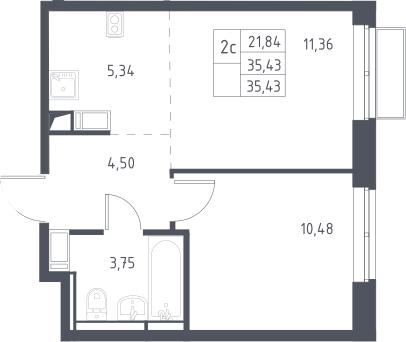 2Е-к.кв, 35.43 м², 10 этаж