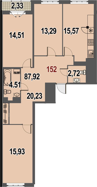 3-к.кв, 87.92 м²