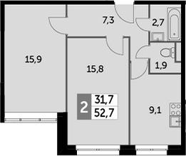 2-комнатная, 52.7 м²– 2