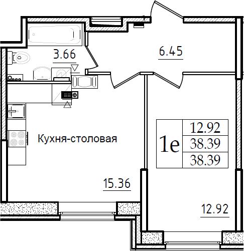2Е-к.кв, 38.39 м²