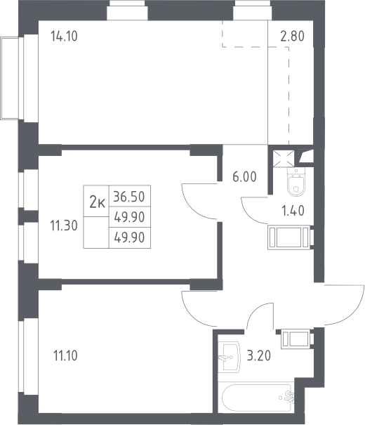3Е-к.кв, 49.9 м²