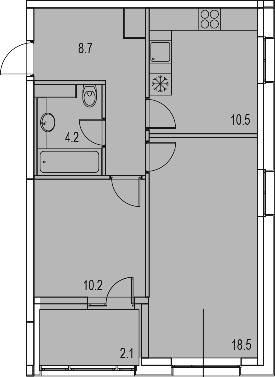 2-к.кв, 54.2 м²