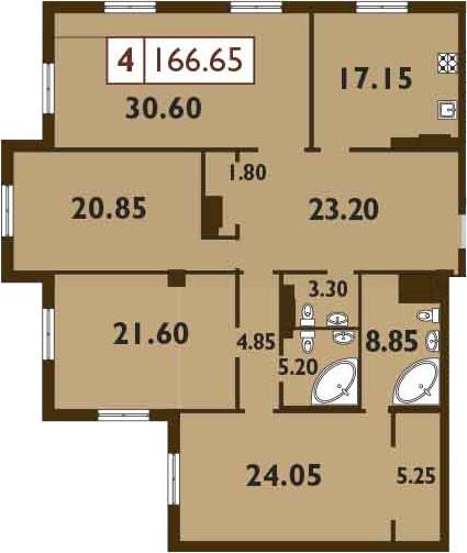 5-к.кв (евро), 166.65 м²