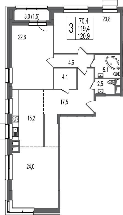 3-к.кв, 120.9 м², 10 этаж