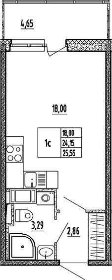 Студия, 24.15 м², 17 этаж