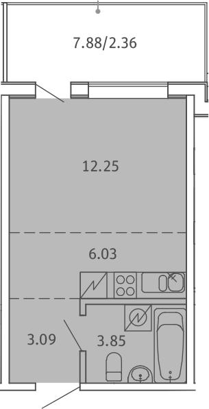 Студия, 27.58 м², 5 этаж – Планировка