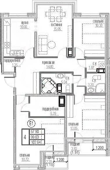 4-к.кв, 105.65 м²