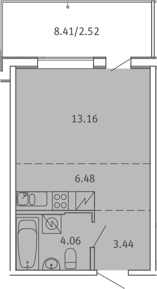 Студия, 29.66 м²– 2