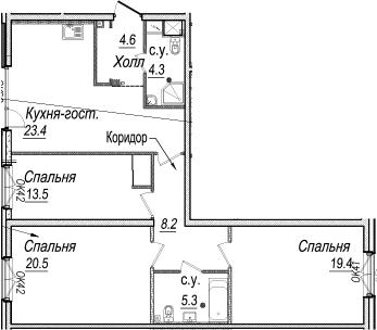 4-к.кв (евро), 99.2 м²
