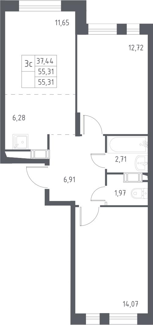 3Е-комнатная, 55.31 м²– 2