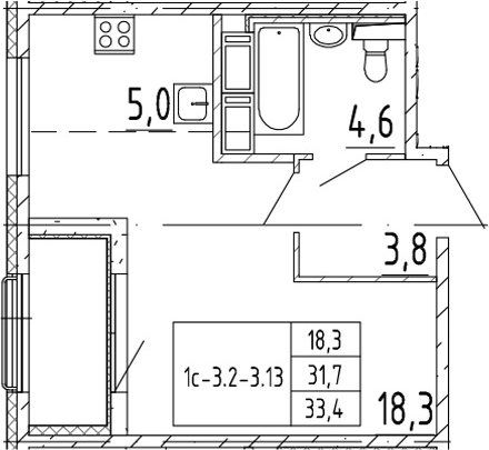 Студия, 33.4 м², 13 этаж