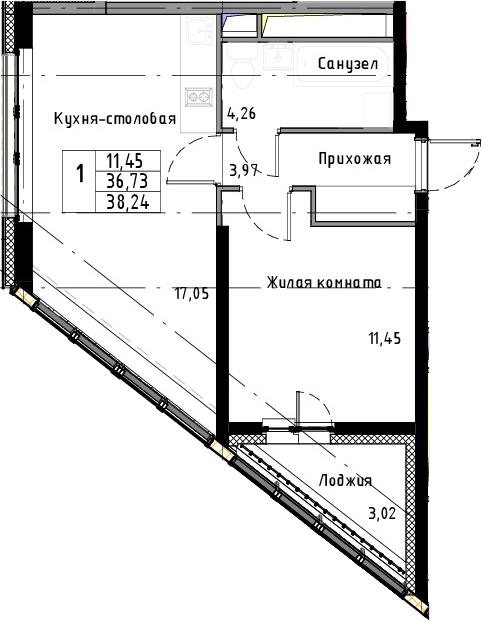 2Е-к.кв, 38.24 м², 5 этаж