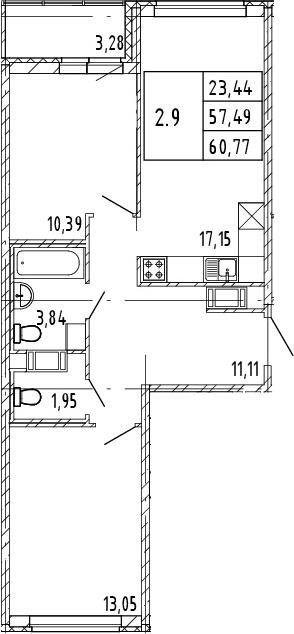 3Е-комнатная, 57.49 м²– 2