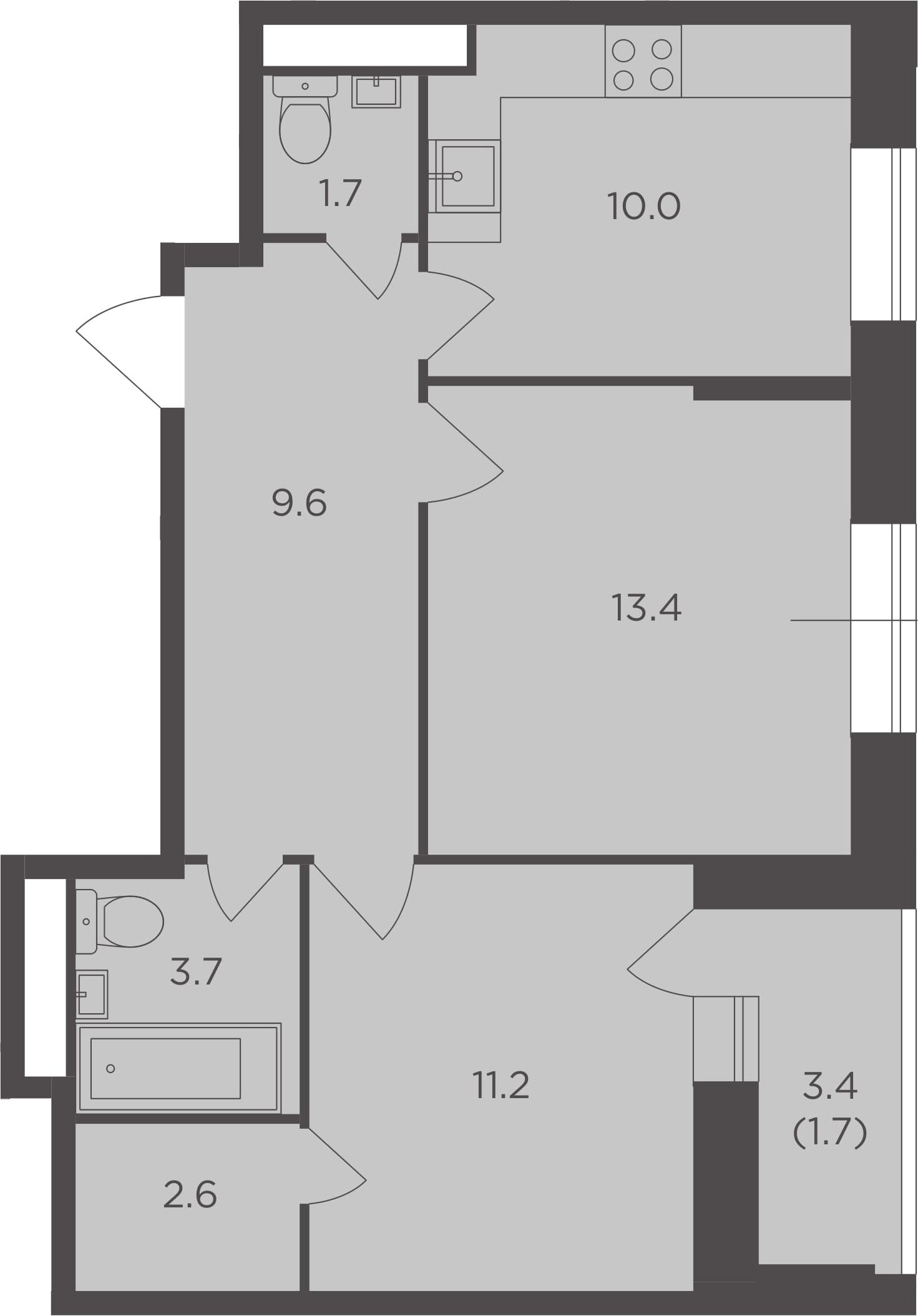 2-к.кв, 53.9 м²