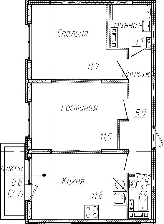 2-к.кв, 45.5 м²