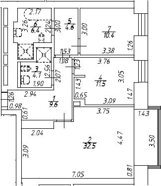 3Е-к.кв, 79.1 м², 7 этаж