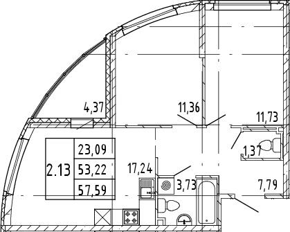 3Е-комнатная, 53.22 м²– 2