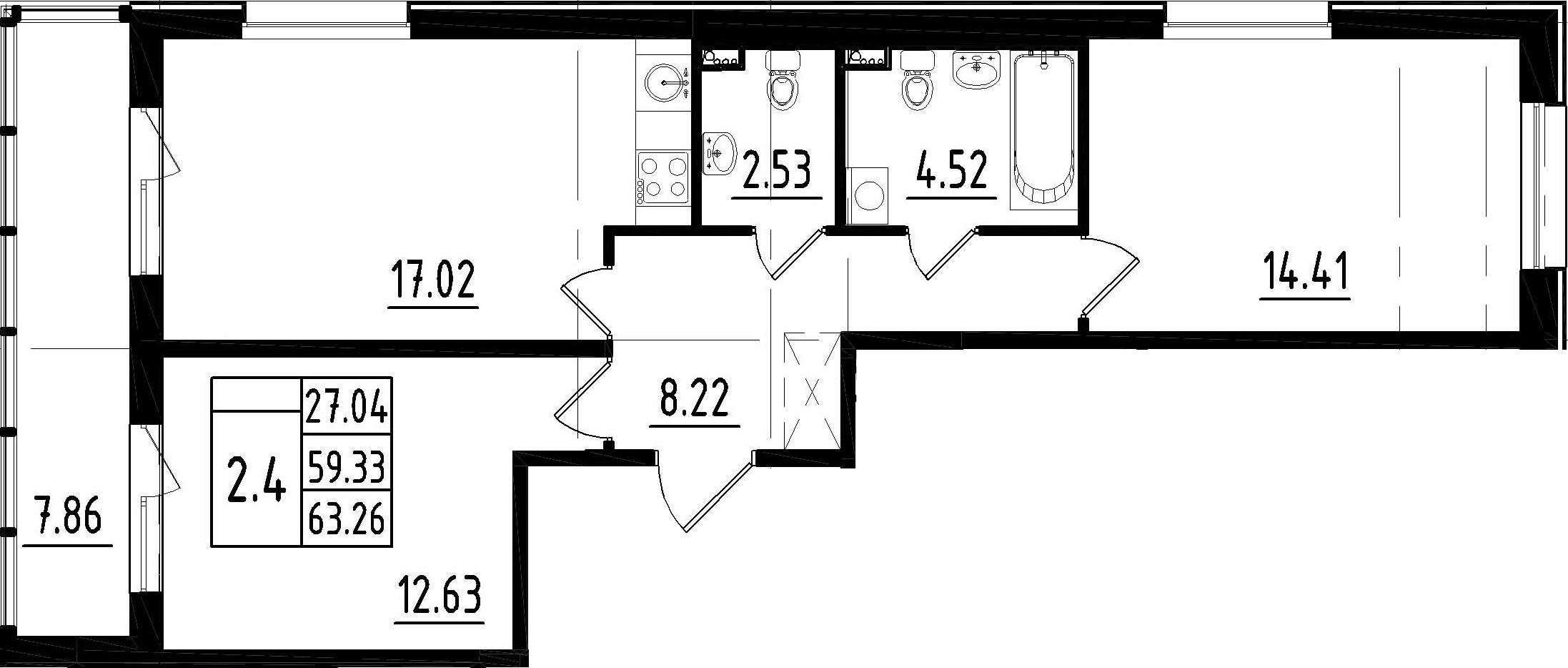 3Е-к.кв, 59.33 м²