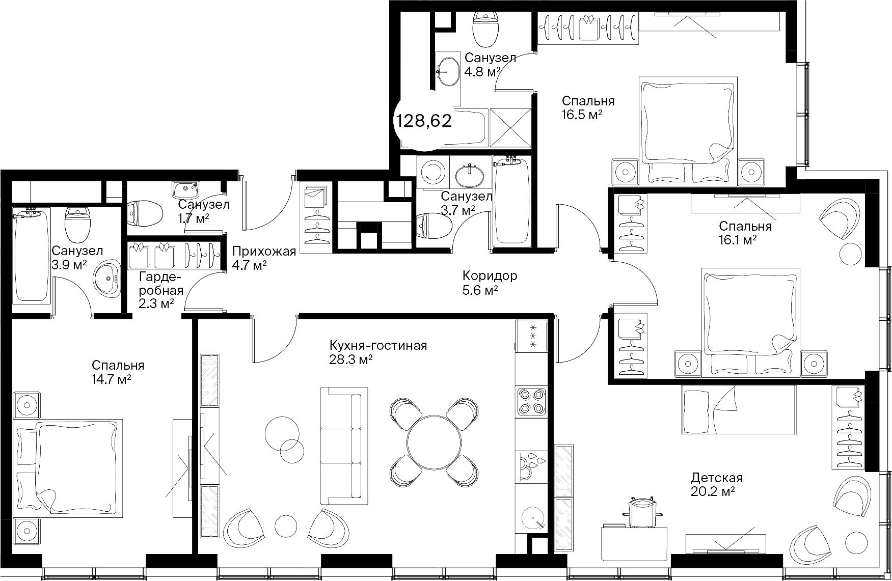 5Е-комнатная, 128.62 м²– 2